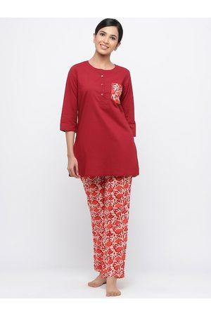 Jaipur Women Red Printed Night suit