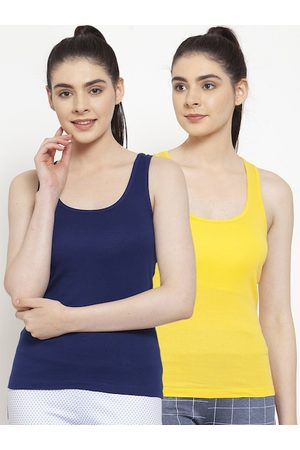 Friskers Women Pack Of 2 Blue Solid Tank Top