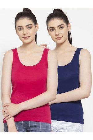 Friskers Women Blue Solid Tank Top