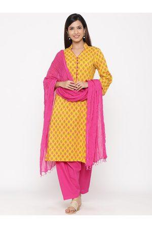 Jaipur Women Yellow & Pink Floral Printed Kurta with Salwar & Dupatta