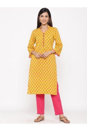 Jaipur Women Yellow & Pink Floral Printed Straight Kurta