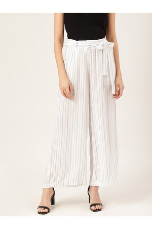 Quiero Women White & Black Self-Striped Wide Leg Palazzos