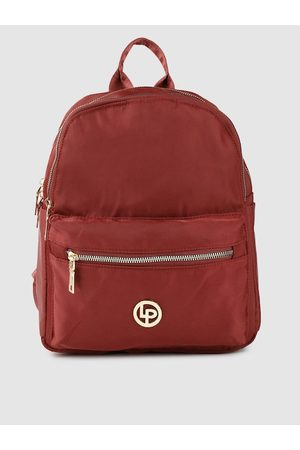 Lino Perros Women Maroon Solid Laptop Backpack