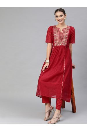 Inddus Women Red Embroidered Kurta with Trousers