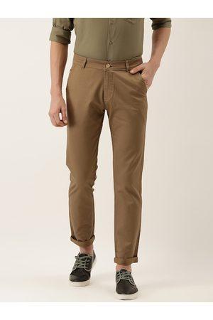 HANCOCK Men Brown Slim Fit Solid Chinos