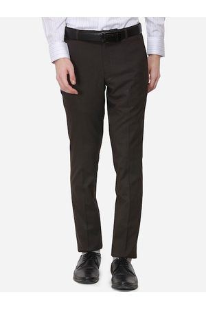 Greenfibre Men Coffee Brown Slim Fit Solid Formal Trousers