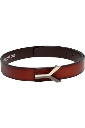 Carlton London Men Rust Brown Solid Leather Belt