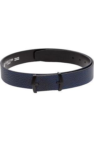 Carlton London Men Navy Blue Textured Leather Belt
