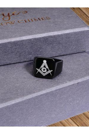 Yellow Chimes Jewellery Men Black & Silver-Toned Freemason Symbol Stainless Steel Finger Ring