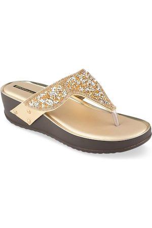 Shoetopia Women Gold-Toned Embellished Sandals