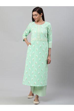 Yash Gallery Women Sea Green & White Foil Print Kurta with Palazzos