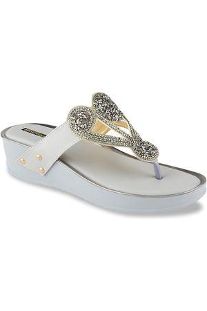 Shoetopia Women Grey Embellished Wedges