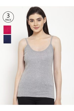 Friskers Women Pack of 3 Solid Camisole H-04-05-07-S