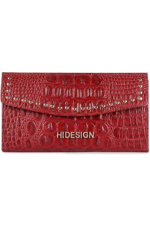 Hidesign Women Red Crocodile Skin Textured Zip Around Leather Wallet