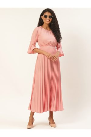 U&F Women Peach-Coloured Solid Accordion Pleated Maxi Dress
