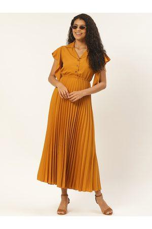 U&F Women Mustard Yellow Solid Accordion Pleated Maxi Dress