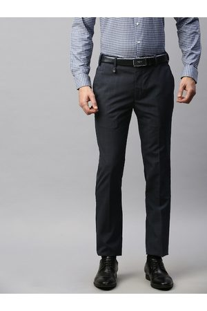 Park Avenue Men Navy Super Slim Fit Checked Formal Trousers