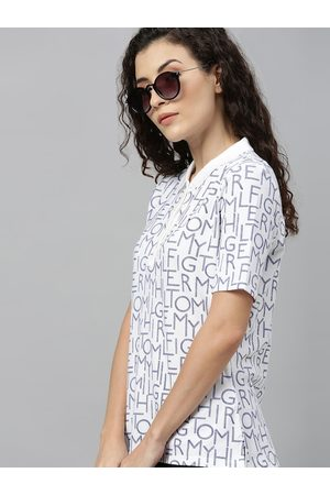 Tommy Hilfiger Women White & Blue Printed Polo Collar T-shirt