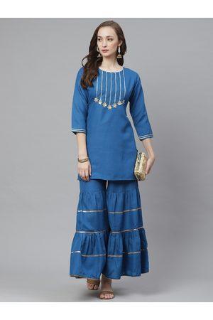 Bhama Couture Women Teal Blue Gotta Patti Yoke Design Kurta with Sharara