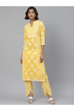 Yash Gallery Women Yellow & White Ethnic Print Kurta with Trousers