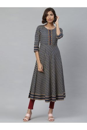 Yash Gallery Women Navy Blue & Maroon Ethnic Print Anarkali Kurta
