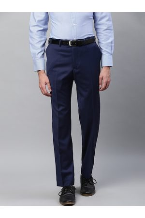 Marks & Spencer Men Blue Solid Tailored Fit Formal Trousers