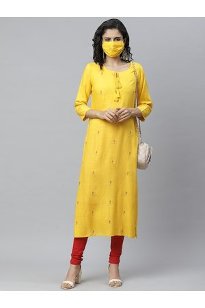 Cayman Women Yellow & Red Embroidered Straight Kurta With Mask