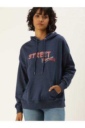 Flying Machine Women Navy Blue Printed Hooded Sweatshirt