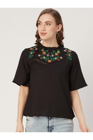 Style Quotient Women Black Solid Boxy Top with Embroidered Detail