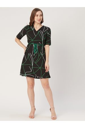 Style Quotient Women Black and Green Abstract Print A-Line Dress