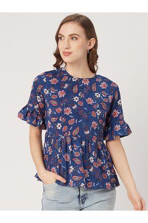 Style Quotient Women Blue & Pink Floral Print A-Line Top