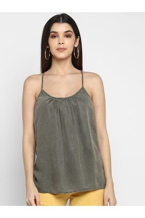 Aditi Wasan Women Olive Green Solid A-Line Top