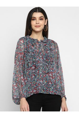Aditi Wasan Women Multicoloured Floral Printed Shirt Style Top
