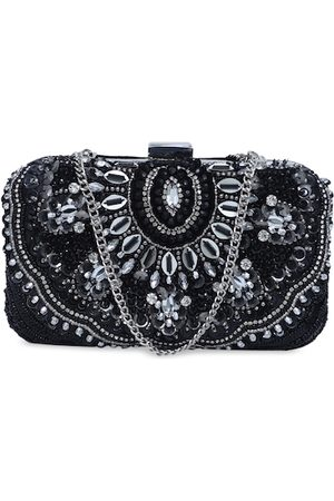 Diwaah Black & Silver-Toned Embellished Box Clutch