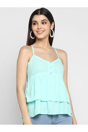Aditi Wasan Women Blue Solid Tiered Top
