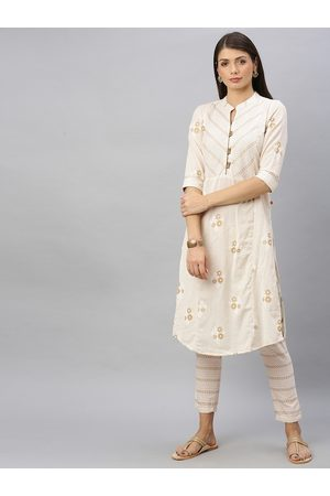 ALENA Women Off-White & Beige Printed Kurta with Trousers
