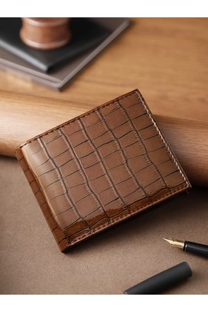 Highlander Men Wallets - Men Coffee Brown Croc Textured Two Fold Wallet