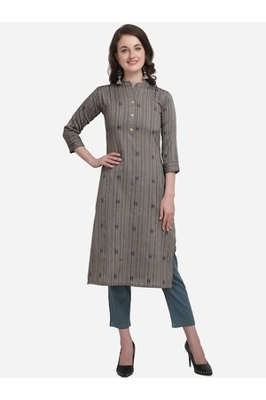 Kvsfab Women Grey Striped Straight Kurta
