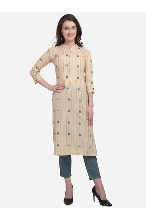 Kvsfab Women Beige Striped Straight Kurta