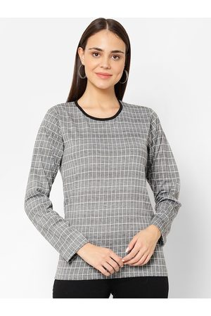 VIMAL JONNEY Women Black & White Checked Round Neck T-shirt