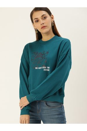 Flying Machine Women Teal Blue Printed Sweatshirt