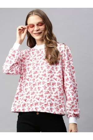 Flying Machine Women White & Red Floral Printed Pullover Sweatshirt