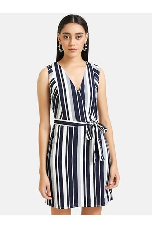 Kazo Women Navy Blue & White Striped Fit and Flare Dress