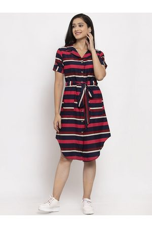 Karmic Vision Women Red Striped Shirt Dress