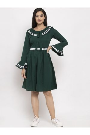 Karmic Vision Women Green Solid A-Line Dress