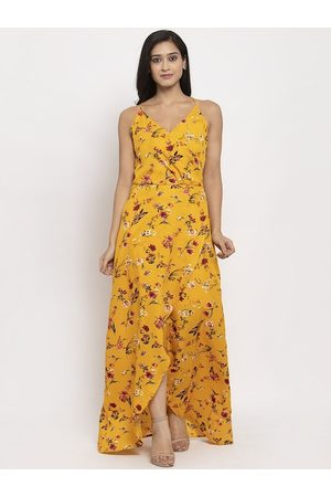 Karmic Vision Women Yellow Printed Maxi Dress