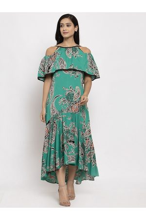 Karmic Vision Women Green Printed A-Line Dress