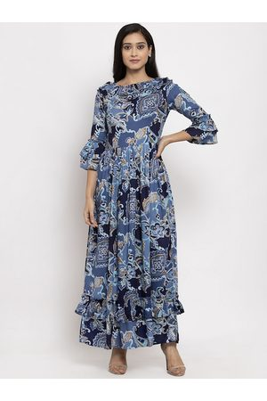 Karmic Vision Women Blue Printed Maxi Dress