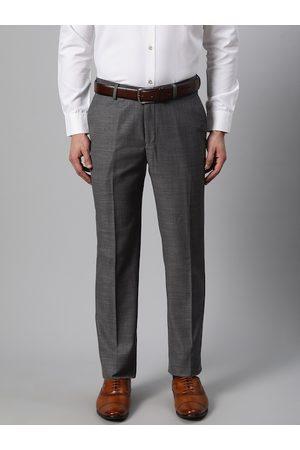 Blackberrys Men Charcoal Grey Smart Fit Solid Formal Trousers
