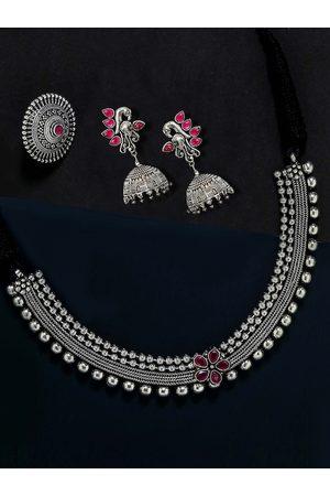 adidas Oxidised German Silver Pink Ruby-Studded Jewellery Set